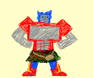Scottish Optimus Prime with grey face and Wonder Woman's Boots.