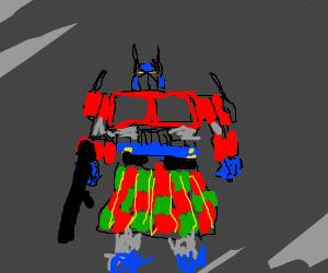 Optimus prime wearing a kilt