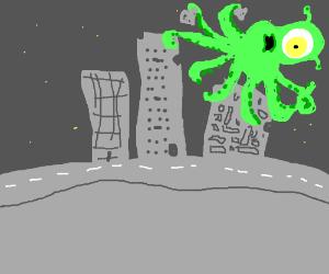 Alien octopus destroys the city