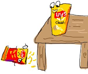 Fritos bag falls, and spills. Lays chip amused