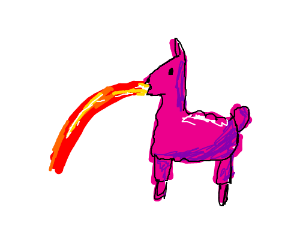 A pink llama barfing lava