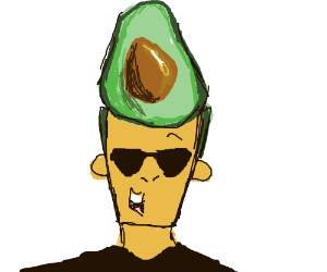 Johnny Bravo has a sliced avocado for hair