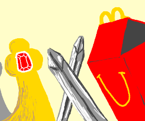 BK Crown and Happy Meal box sword-fighting.