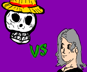 One Piece vs girl with long gray hair.