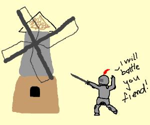 knight battling a windmill