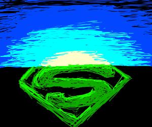 Sun Rises Behind Superman Logo