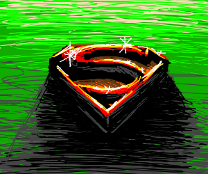 """Shiny Superman """"S"""" on a field of green"""