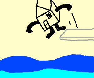 House jumps into the water