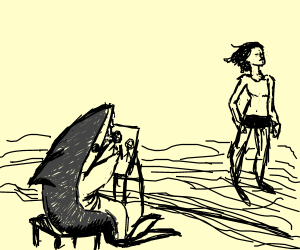 A shark sketching a nude swimmer