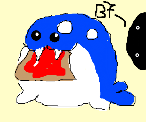 Spheal eating breakfast, someone says ''B7.''