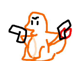 simplied schizophrenic picture of a charmander