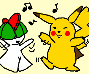 Pikachu dances with Ralts