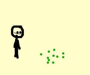 Stickman looks at radioactive boogers