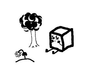 Cube person watches a flower die in the woods.