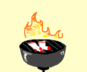 A pair of socks on a grill