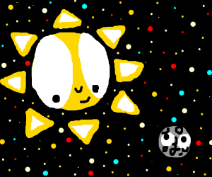 sun and moon in spaace