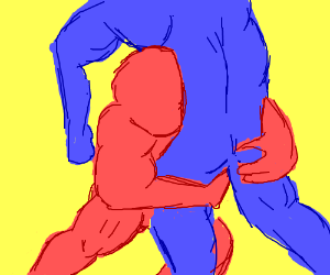 Red Man and Blue Man Wrestle (Gang Beasts?)