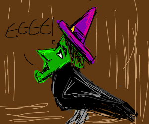 """Crow with witch's face saying """"EEEE!"""""""