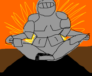 The knight does yoga.