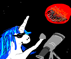 blue maned unicorn during lunar eclipse
