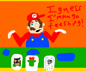 mario go fish drawing by thecolorofthegame