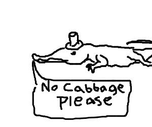 "Fancy alligator says, ""I don't like cabbage"""