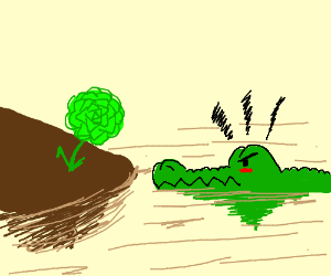 crocodile dissaproves of green rose
