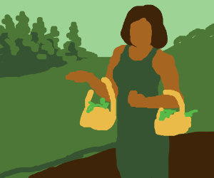 lady carries two baskets with plants