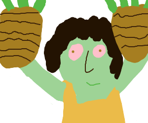 Latina woman with basket of greens on each arm