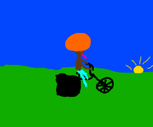 Man with purple tongue on cycling machine