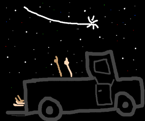 Stargazing in the back of a pickup truck
