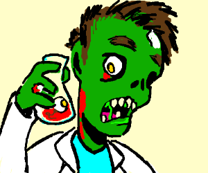 scientist turns to a zombie