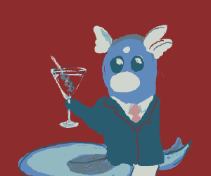 Dratini drinking a martini like a sir