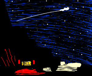 Billy watches shooting star from pickup truck