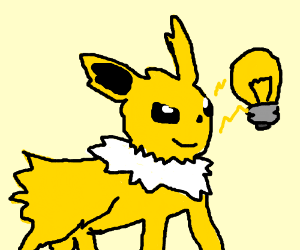 Jolteon lights a lightbulb