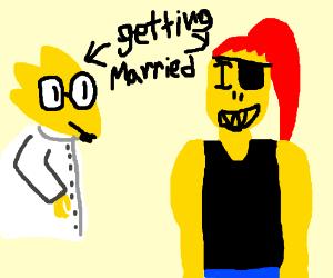 Alphys and golden Undyne get married