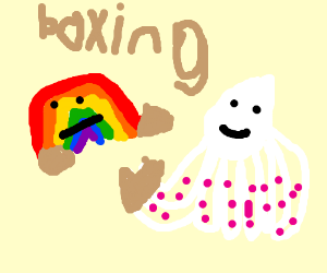 Rainbow vs white octopus in boxing
