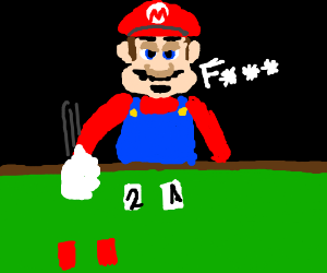 Mario is losing a card game