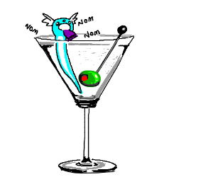 Dratini eating a beanie in a martini
