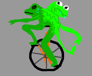 Kermit and Dat boi are fused together.