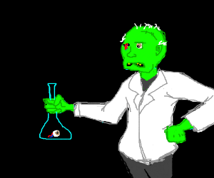Zombie scientist dropped his eye in a beaker.