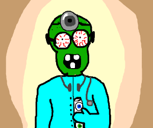 Dr. Zombie holding mixture with eyeball