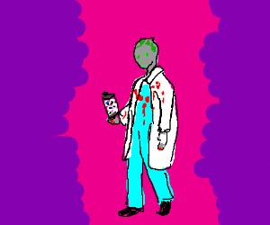 Zombie doctor holding tube full of eyes.