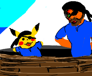 Pikachu suits up with blue, redhead pirate
