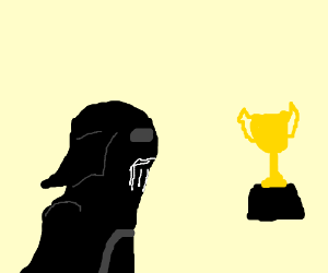 Darth Vader staring at a sport's cup.