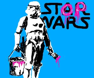 Storm trooper protests war