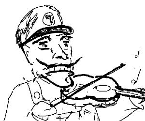 emotional waluigi playing a violin