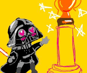 Darth Vader admires a trophy