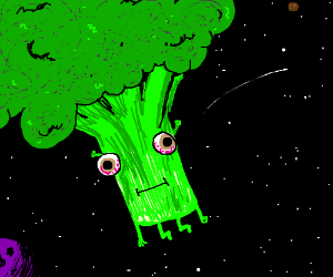 Broccoli alien with bloodshot eyes in space.