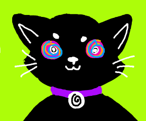 Cat with swirls for eyes